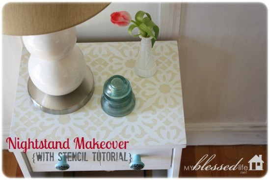 nightstand makeover with stencil tutorial