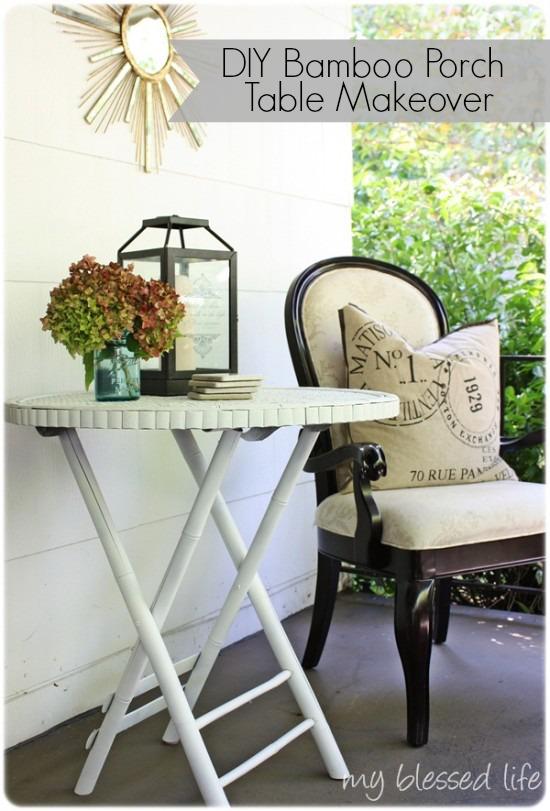 Bamboo Porch Table Makeover