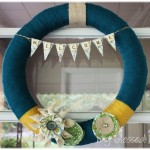 DIY Deep Teal Yarn Wreath