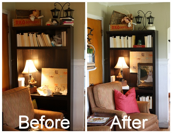 how to decorate a bookcase on the cheap