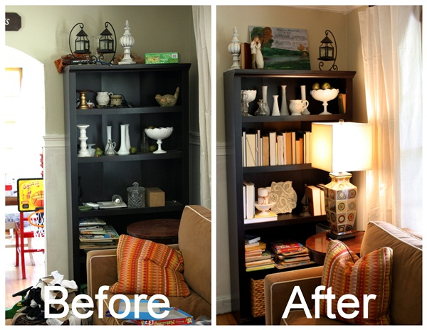 How To Decorate A Bookcase how to decorate a bookcase {on the cheap}