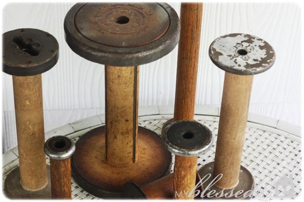 Vintage Wood Textile Spools