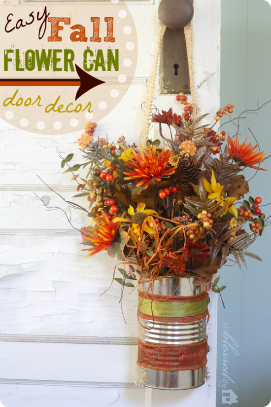 Fall Flower Can DIY Door Decor | Easy Fall Door Decorations You Can DIY on a Budget | fall door decorations | fall door wreath