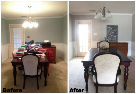 Before and After of the Dining Room Makeover