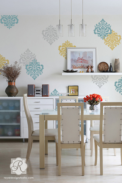Ornamental Wall Flower Stencil by Royal Design Studio