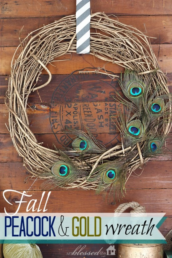 Fall Peacock & Gold Wreath | MyBlessedLife.net