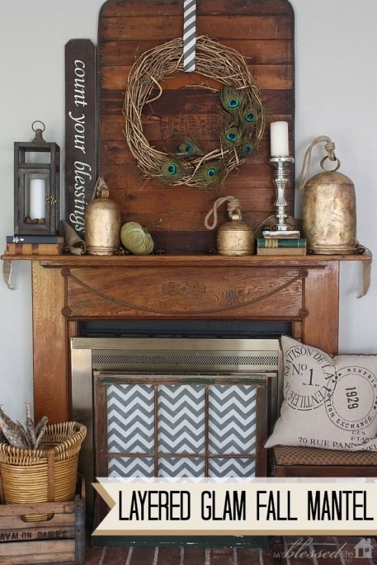 Layered Glam Fall Mantel | MyBlessedLife.net