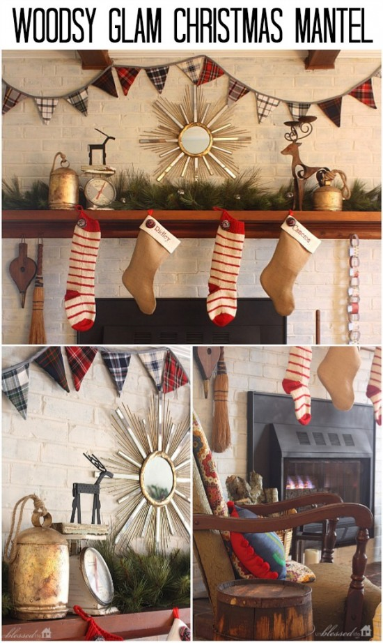 Woodsy Glam Christmas Mantel | MyBlessedLife.net