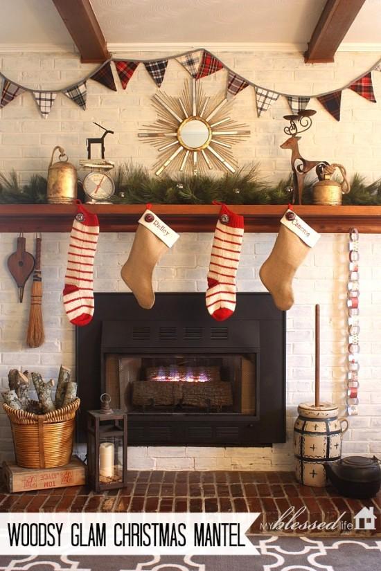Woodsy Glam Christmas Mantel MyBlessedLife.net