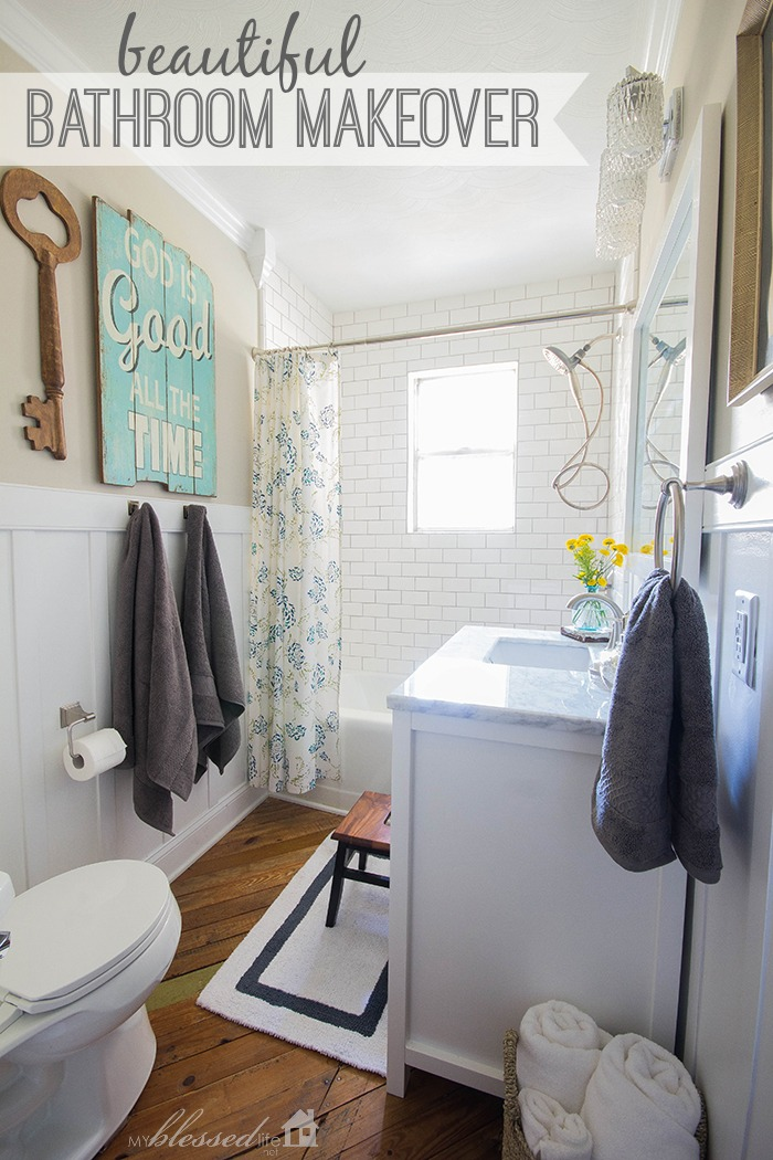 beautiful cottage style bathroom makeover myblessedlifenet