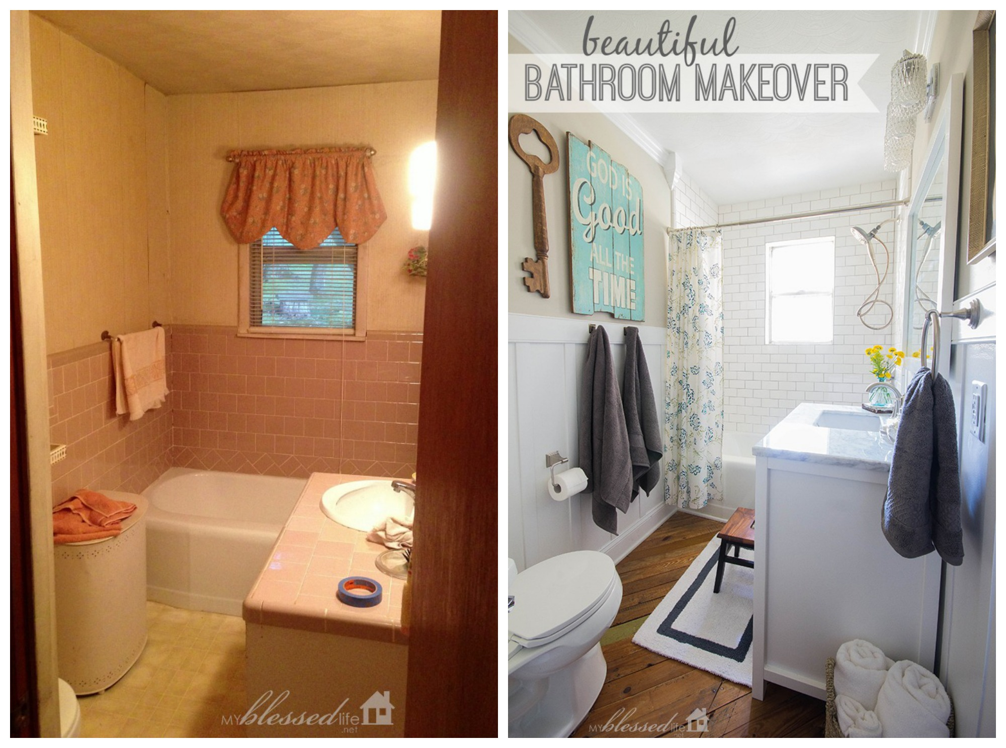 Beautiful cottage style bathroom makeover Cheap bathroom remodel before and after