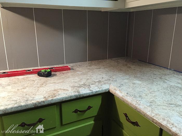 Easy DIY Herringbone Tile Painted Backsplash | MyBlessedLife.net