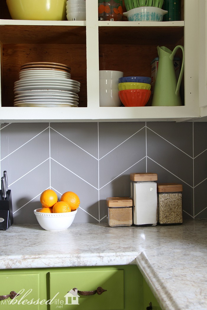 Diy Herringbone Tile Backsplash My Blessed Life