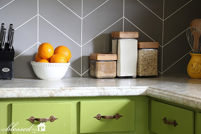 Easy DIY Herringbone Tile Painted Backsplash