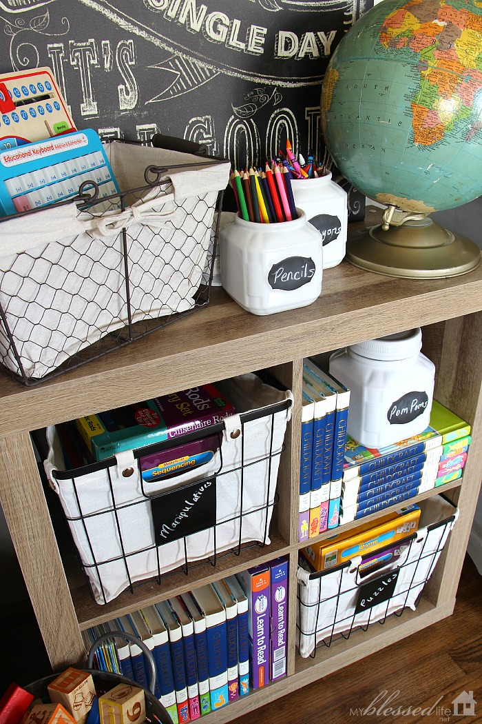 Modern Rustic Classroom ~ Affordable rustic style organizing solutions